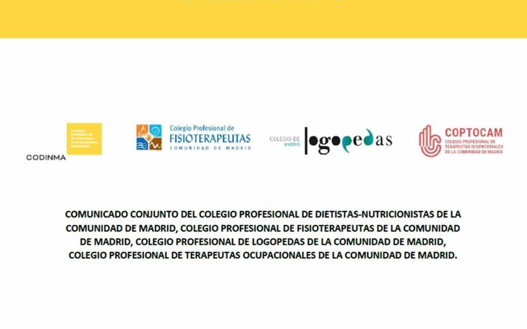 Dietistas-Nutricionistas, Logopedas, Terapeutas Ocupacionales y Fisioterapeutas de Madrid reclaman al consejero de Sanidad el cierre obligatorio de sus centros